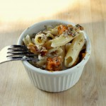 Baked Penne with Butternut, Chevre, and Walnuts