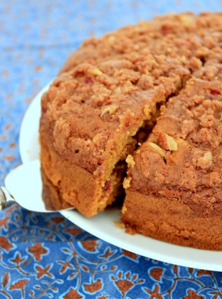 {Gluten-Free & Dairy-Free} Pumpkin Coffee Cake with Apples & Cranberries